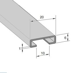 Aluminiums skinne 18/10mm