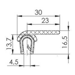 Kantliste 4-5mm m. flange