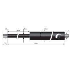 Gasfedern 40mm 6/15mm