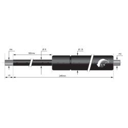 Gasfedern 100mm 8/18mm