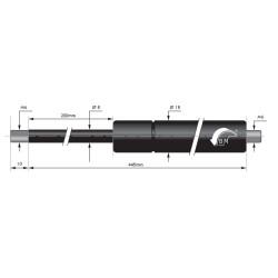 Gasfedern 200mm 8/18mm