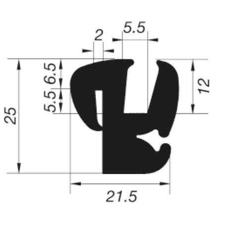 G5-6/P2mm S-Typ Verglasungsprofile