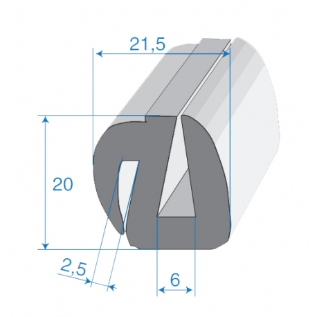 G6/P2-3mm S-Typ Verglasungsprofile