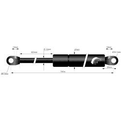 Gasfeder 300mm 14/27mm